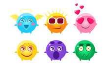 Colorful Glossy Balls Cartoon Characters Set, Cute Funny Fantastic Monsters With Various Emotions Vector Illustration