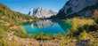 herbstliche Idylle am Seebensee, sonniger Herbsttag, Spiegelung der Zugspitze im Bergsee.