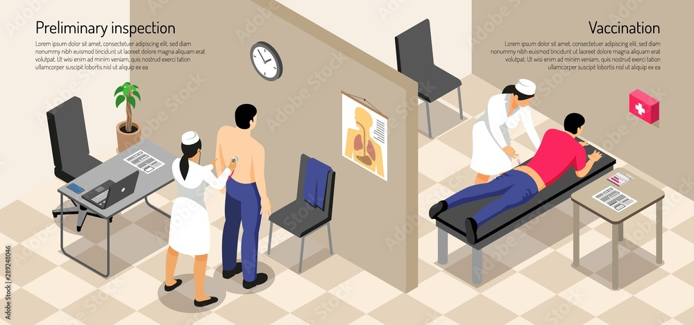 Fototapety, obrazy: Isometric vaccination horizontal illustration
