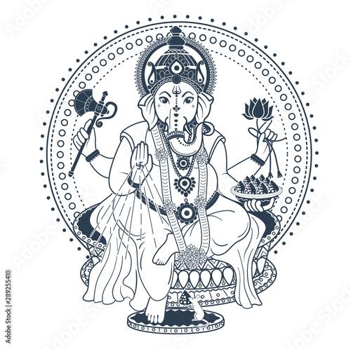 Ganesh Puja linear style icon black фототапет