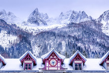 Chamonix Mont Blanc, France, Facade Of Train Station, French Alps And Snow Mountain Peaks