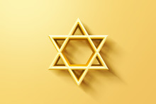 Israel Star. Seal Of Solomon Icon. Jewish Star Of David Six Sointed Star. Gold Hexagram On White Background. 3d Illustration