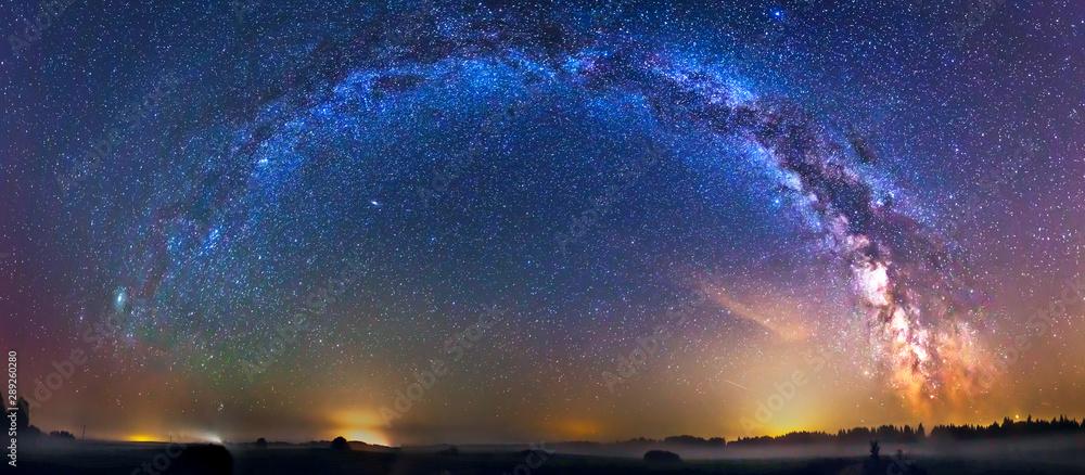 Fototapeta Landscape with Milky way galaxy in Lithuania
