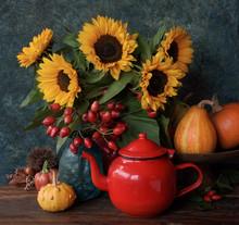 Autumn Flowers With Tea Pot