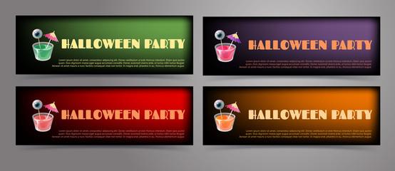 Set of Halloween banner templates.