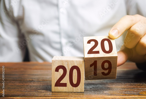 Fotografie, Tablou Two wooden blocks with numbers 2019 and 2020