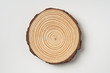 canvas print picture - top view of wood piece with annual ring on white