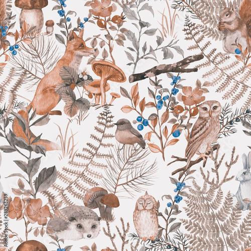 Tapety Vintage  recznie-rysowane-wzor-z-akwarela-zwierzat-lesnych-i-roslin-wzor-na-tapete-dla-dzieci-mieszkancow-drewna-urocze-zwierzeta