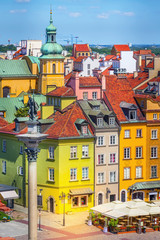 Panel Szklany PodświetlaneWarsaw, Poland colorful houses in Castle Square in the Old Town of polish capital aerial view