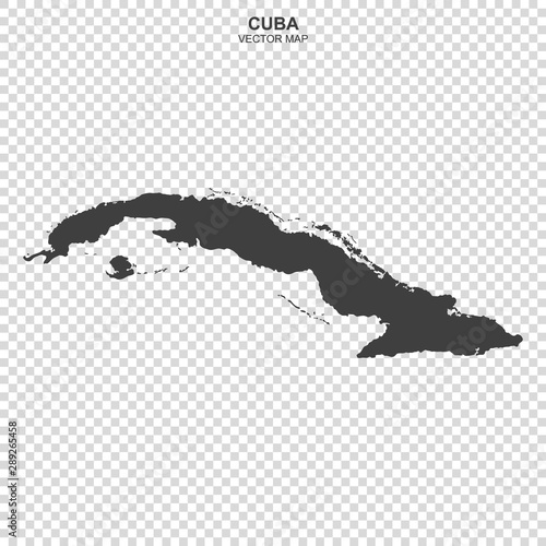 Photo vector map of Cuba isolated on transparent background