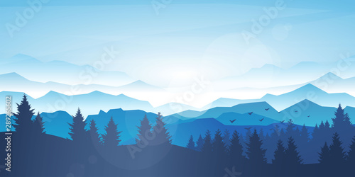Foto auf Leinwand Pool Vector realistic background. Minimalistic landscape with trees and mountain. Blue panoramic banner. Fog in the mountains. Polygonal wallpapers. Misty morning. Sun glare effect. Blinding day. Clear sky