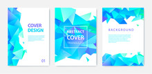 Vector Set Of Triangle Polygonal Abstract Background, Facet Crystal Blue Covers, Flyers, Brochures. Colorful Gradient Design.