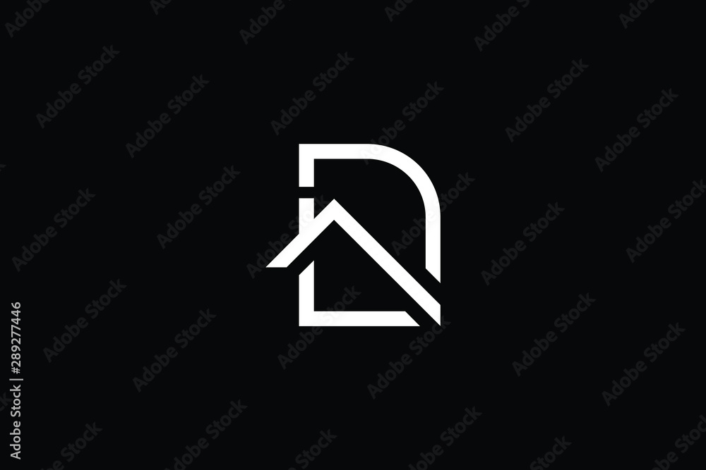 Fototapety, obrazy: Logo design of D in vector for construction, home, real estate, building, property. Minimal awesome trendy professional logo design template on black background.