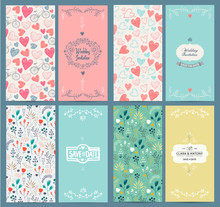 Vector Set Of Vintage Card Tem...