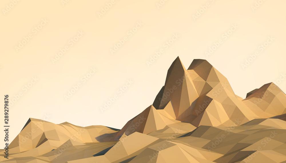 Fototapeta Geometric Mountain Low poly Landscape art Concept minimal with Colorful Orange Background - 3d rendering