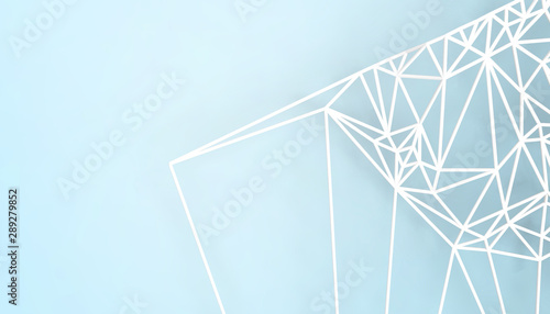 Foto auf AluDibond Licht blau Geometric White Structure Design connection Science technology art and Lowpoly with Blue Background - 3d rendering