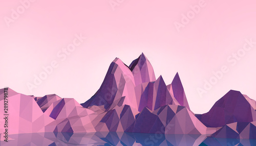 Foto auf Leinwand Rosa hell Geometric Mountain Low poly Landscape art Concept minimal with Colorful Purple Background - 3d rendering