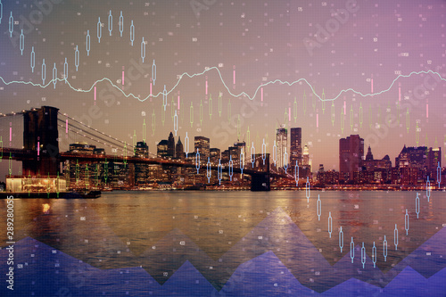 Photo Stands Night blue Financial graph on night city scape with tall buildings background multi exposure. Analysis concept.