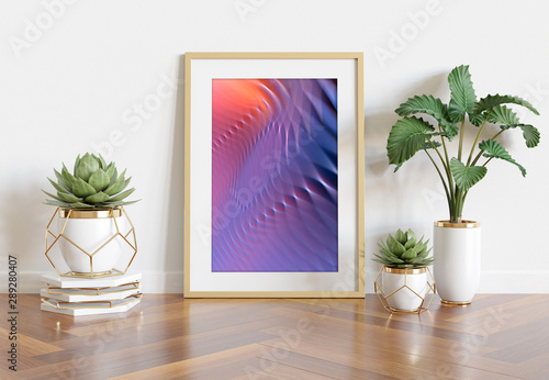 Wooden frame leaning in bright white interior with plants and decorations mockup 3D rendering