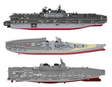 Set Of Aircraft Carriers Isola...