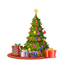 Festive Christmas Tree Flat Ve...
