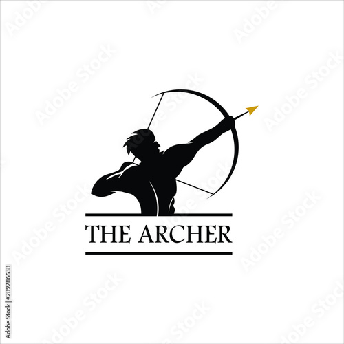 Slika na platnu archer logo simple vintage emblem black silhouette illustration design idea