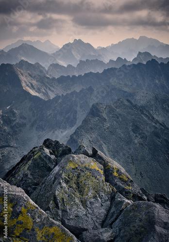 Fototapeta Majestic mountain scenery in High Tatras Mountains Slovakia. Cloudy mid day. obraz