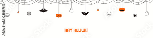 Happy Halloween garland, bunting with pumpkins, bats, ghosts, spider webs, skulls, corn candy, on white background Canvas