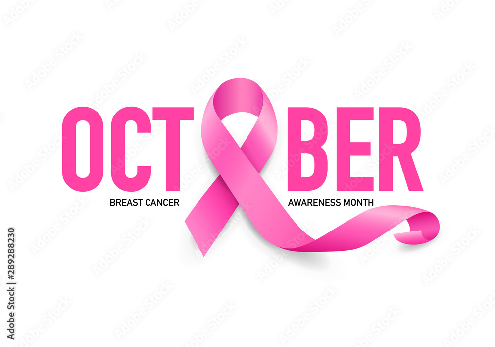 Fototapeta October lettering design with pink ribbon. Breast Cancer Awareness Month Campaign. For poster, banner and t-shirt. Vector Illustration isolated on white background.