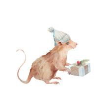 Watercolor Happy New Year Card. Mouse With Present Box With Holly Branch. Symbol Of 2020 In Cartoon Style