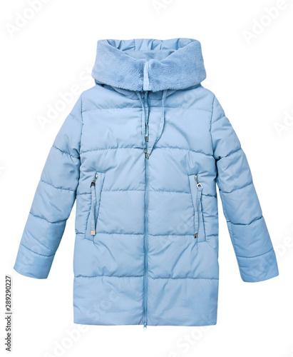 Fototapeta Winter blue child girl's coat isolated on white.
