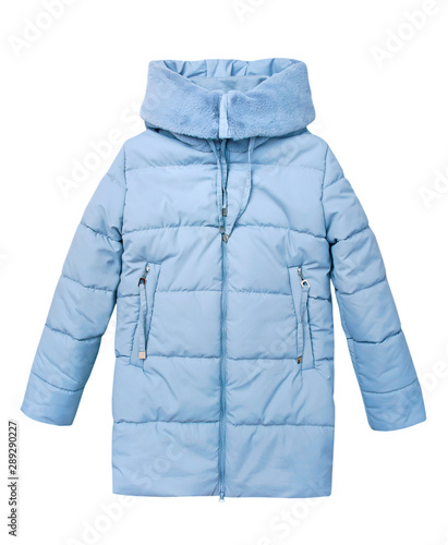 Obraz na plátně Winter blue child girl's coat isolated on white.
