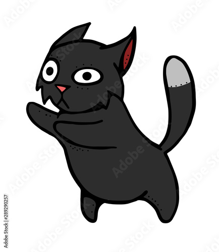 Big Cat Vector Clipart of a Black and White Mad Lion Ready to Fight by Lal  Perera - #858