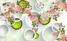 3d Mural Background With Flowe...
