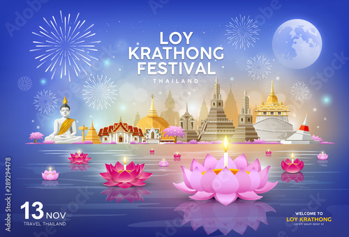 Foto auf Leinwand Dunkelblau Welcome to Loy Krathong festival in building and landmark thailand banners on blue background, vector illustration