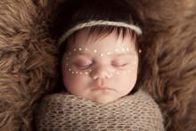 Newborn Baby Aboriginal Girl, Traditional Facepaint.