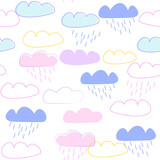 Fototapeta Dinusie - Clouds pattern for a kids design, Scandinavian style, vector iilustration