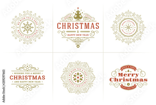 Christmas vector typography ornate labels and badges, happy new year and winter holidays wishes for greeting card - 289297663