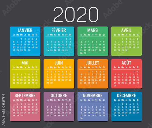 Calendrier Agenda 2020.Calendrier Couleur Agenda 2020 Buy This Stock Vector And