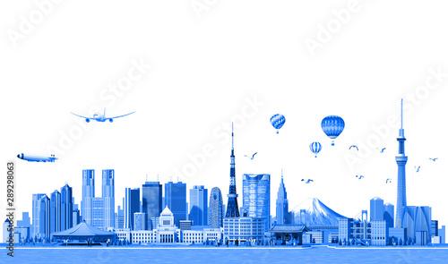 fototapeta na drzwi i meble Tokyo city with 3d render