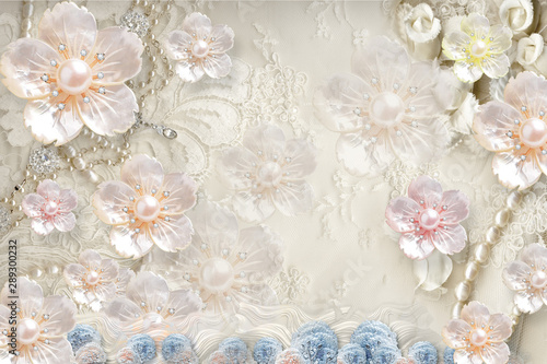 Fototapety 3d   3d-mural-background-with-flowers-pearl-jewelery-circles-and-butterfly-marble-and-capitone-wallpaper