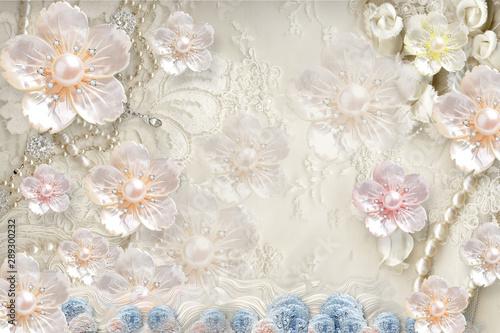 Fototapety 3d   fototapeta-3d-w-tle-z-kwiatami-perla-bizuteria-kolkami-i-motylem-marmurem-i-tapeta
