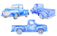 Watercolor Blue Old Car Pickup...