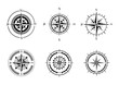 Collection of logos of the compass. Stylized sea compasses with a wind rose. Measuring device. Black and white vector logo. Tattoo.