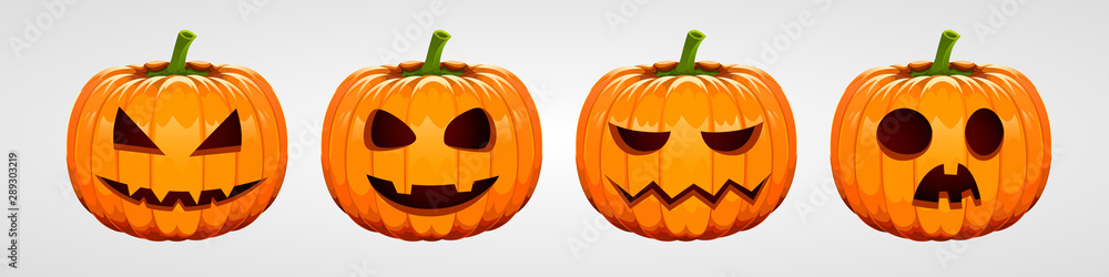 Fototapety, obrazy: Set of halloween pumpkins, funny faces. Autumn holidays.