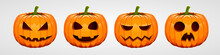 Set Of Halloween Pumpkins, Funny Faces. Autumn Holidays.