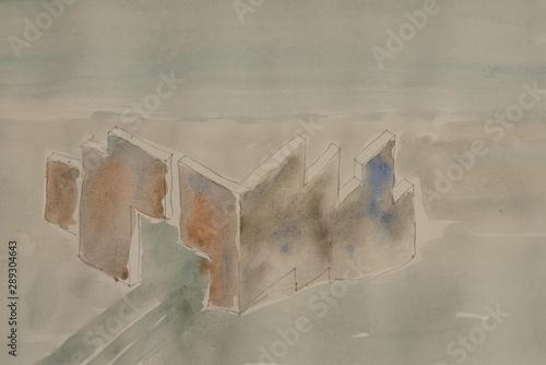 Türaufkleber Darknightsky abstract wall construction