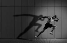 Athletic Man Sprinter Running ...