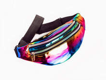 Waist Bag With Strap On A White Background. Belt Bag In Rainbow Color.Multi-colored Trendy Handbag For Girls.