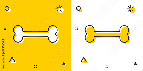 Black Dog bone icon isolated on yellow and white background Tablou Canvas